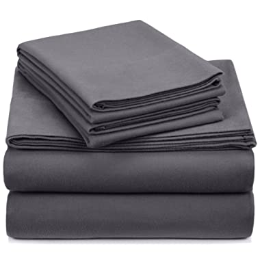 Pinzon Signature 190-Gram Cotton Heavyweight Velvet Flannel Sheet Set - Queen, Graphite