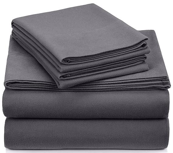 Pinzon Signature Cotton Heavyweight Velvet Flannel Sheet Set - Queen, Graphite best queen size flannel sheet sets