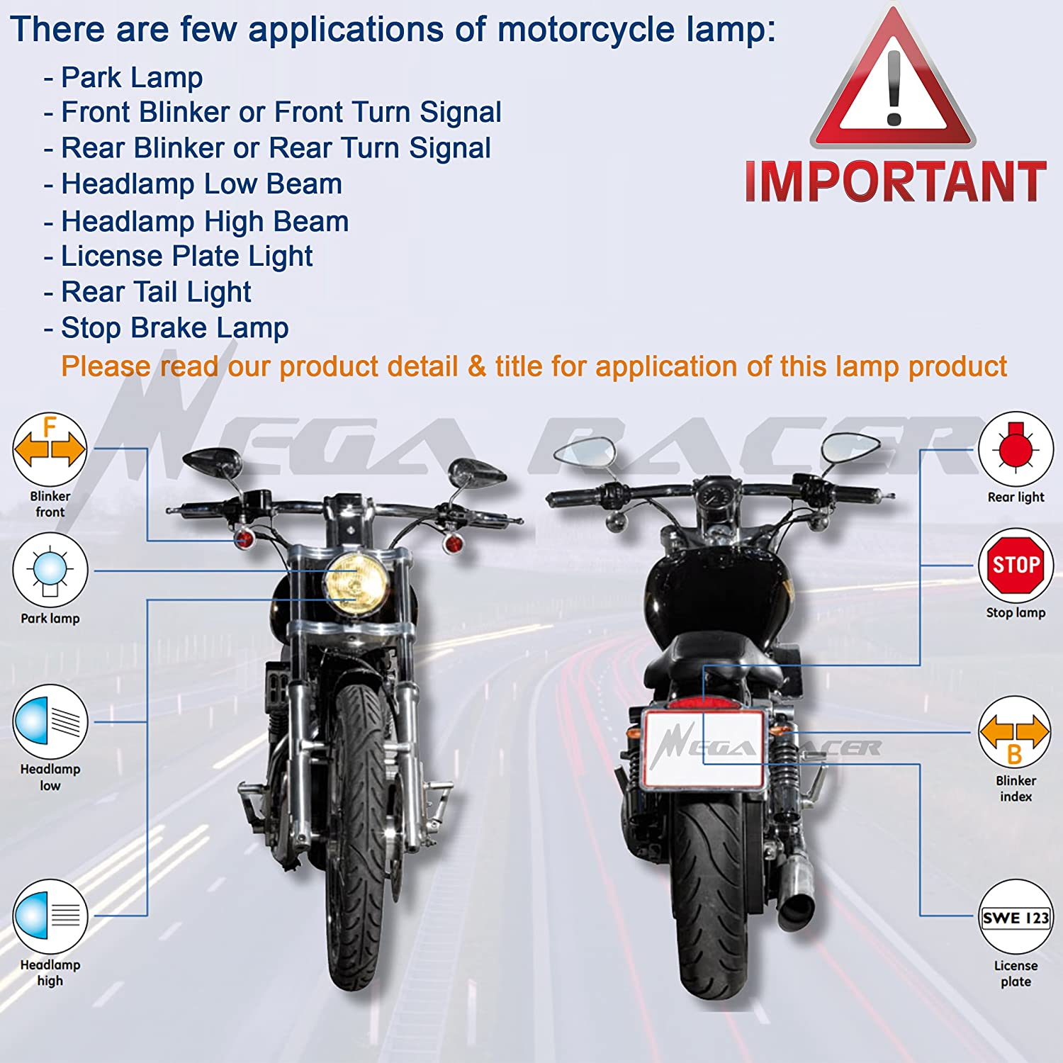 Mega Racer Combo 2 Pair Motorcycle 1157 Red LED 12 Chip BAY15d P21//5W Tail Stop Brake Light 7528 2357 Scooter Chopper Moped Lamp US