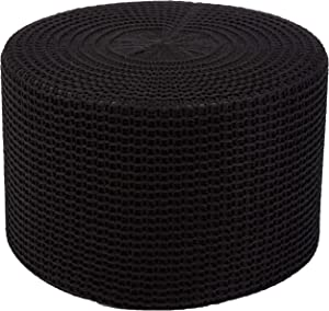 AmazonBasics Knit Foam Floor Pouf Ottoman, Black