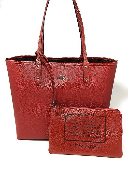 b2414b778c2a new zealand coach signature reversible pvc city large tote bag handbag  brown red aab63 6e8c7  clearance amazon coach signature metallic reversible  city tote ...