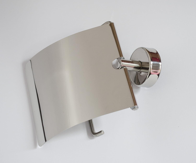 Montaggio a Parete 20 anni di garanzia Kapitan Porta Rotolo Carta Igienica con Coperchio 18//10 Acciaio Inossidabile Fabbricato in EU