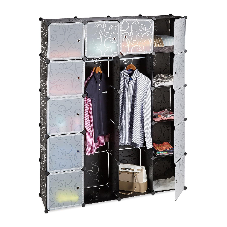 Relaxdays Kleiderschrank Stecksystem mit 2 Kleiderstangen, Garderobe mit 14 Fächer, Kunststoff Regalsystem, schwarz