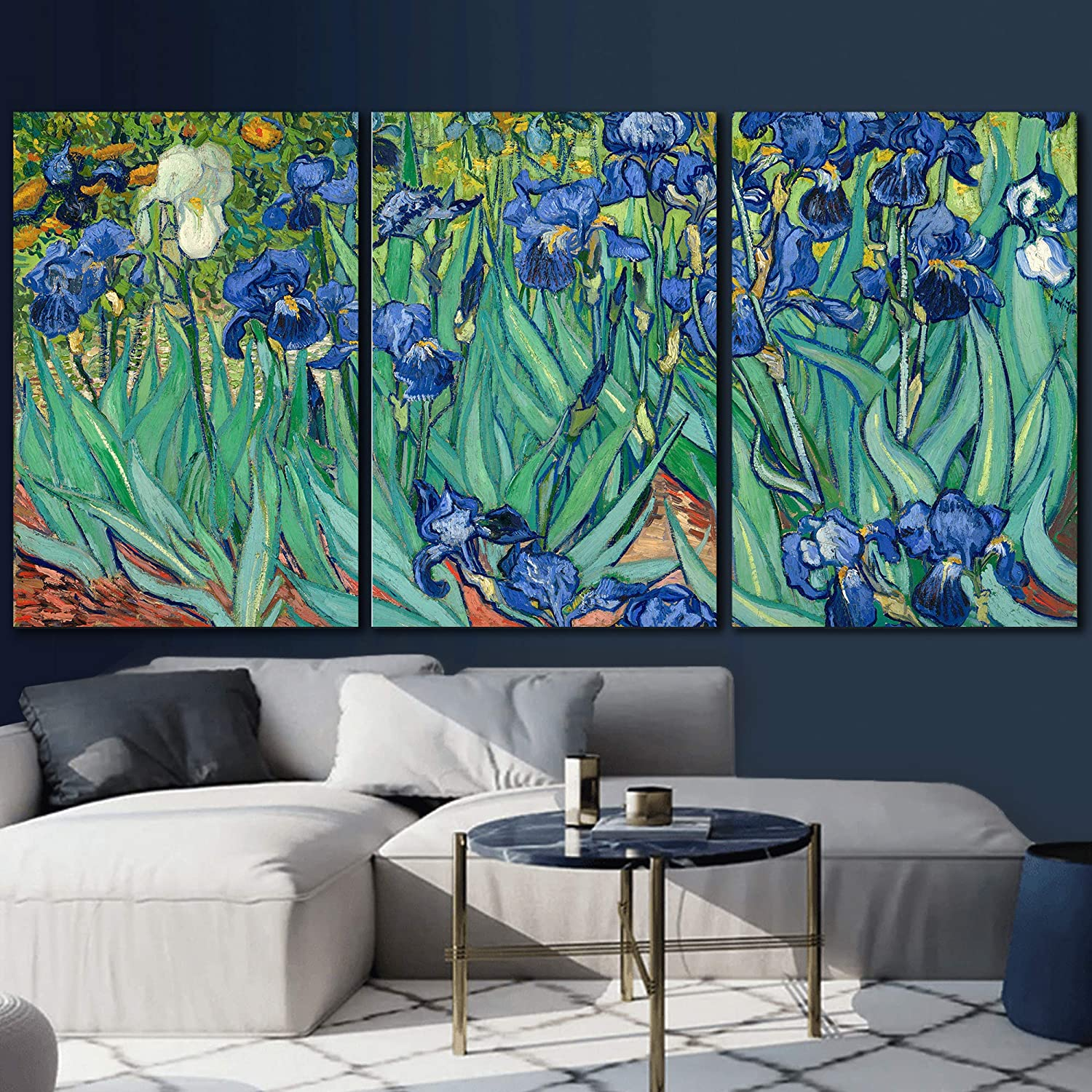wall26 3 Panel Canvas Wall Art - Irises by Vincent Van Gogh - Giclee Print Gallery Wrap Modern Home Art Ready to Hang - 24