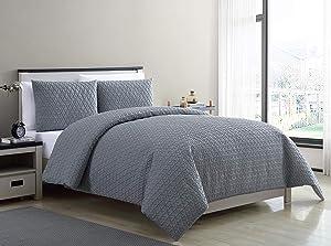 VCNY Home Mykonos Duvet Cover Sets, Queen, Grey