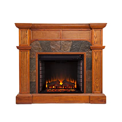 Southern Enterprises Cartwright Convertible Electric Fireplace, Mission Oak  Finish With Earth Tone Tiles