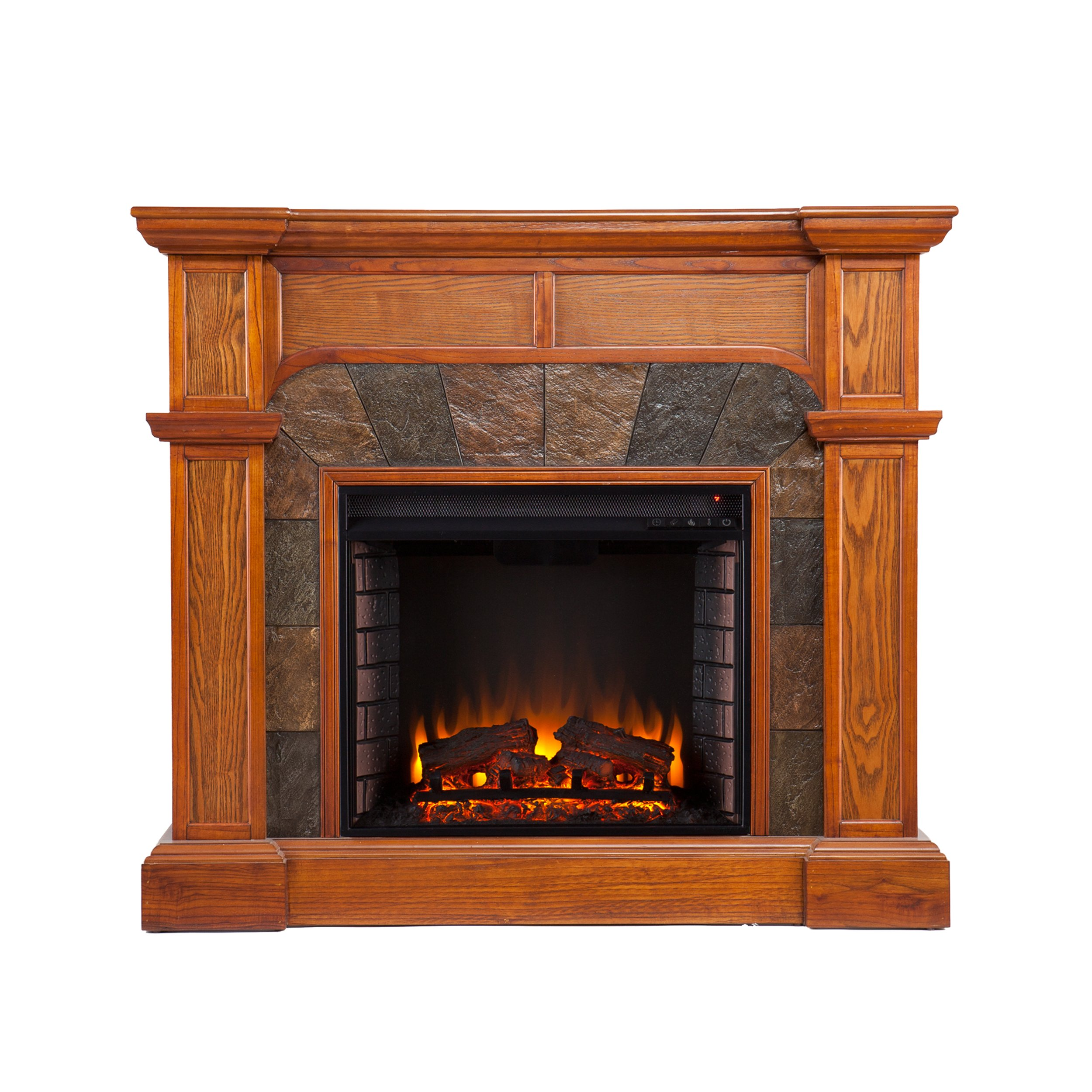 Cartwright Convertible Electric Fireplace - Mission Oak by Southern Enterprises