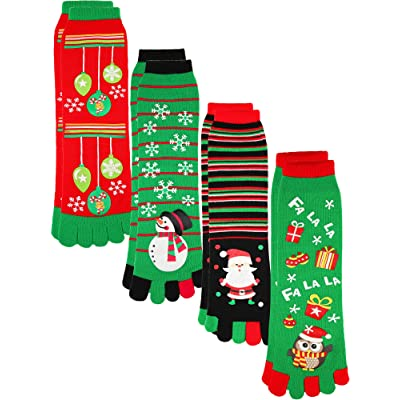 4 Pairs Christmas Socks Stretchy Five Toes Winter Socks Cute Colorful Ankle Crew Socks for Women Girls at Amazon Women's Clothing store
