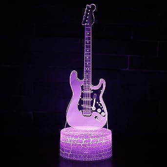 Tsqqst Nueva Guitarra Eléctrica De Fondo De Grieta 3D Estéreo De Luz Nocturna Usb Enchufe Led