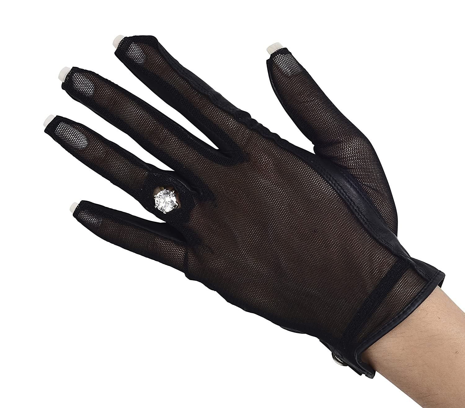 Lady Classic Solar Nail and Ring Glove, Black, Small, Left Hand