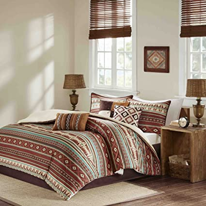 7 Piece Red Brown Blue White Southwest Comforter King Set, Native American  Southwestern Bedding,