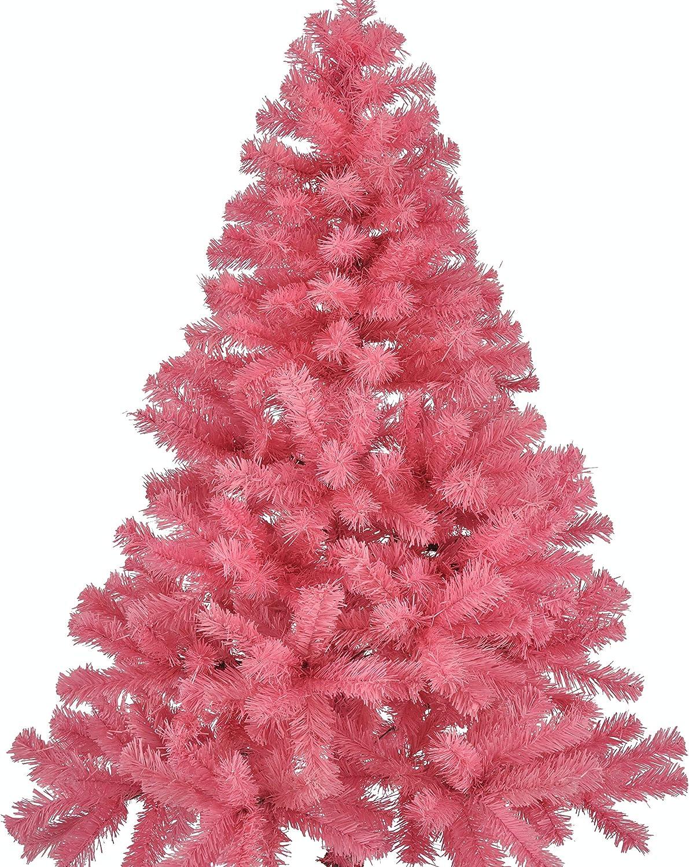 HI - Árbol de Navidad (plástico, 150 cm, con soporte), color rosa: Amazon.es: Hogar