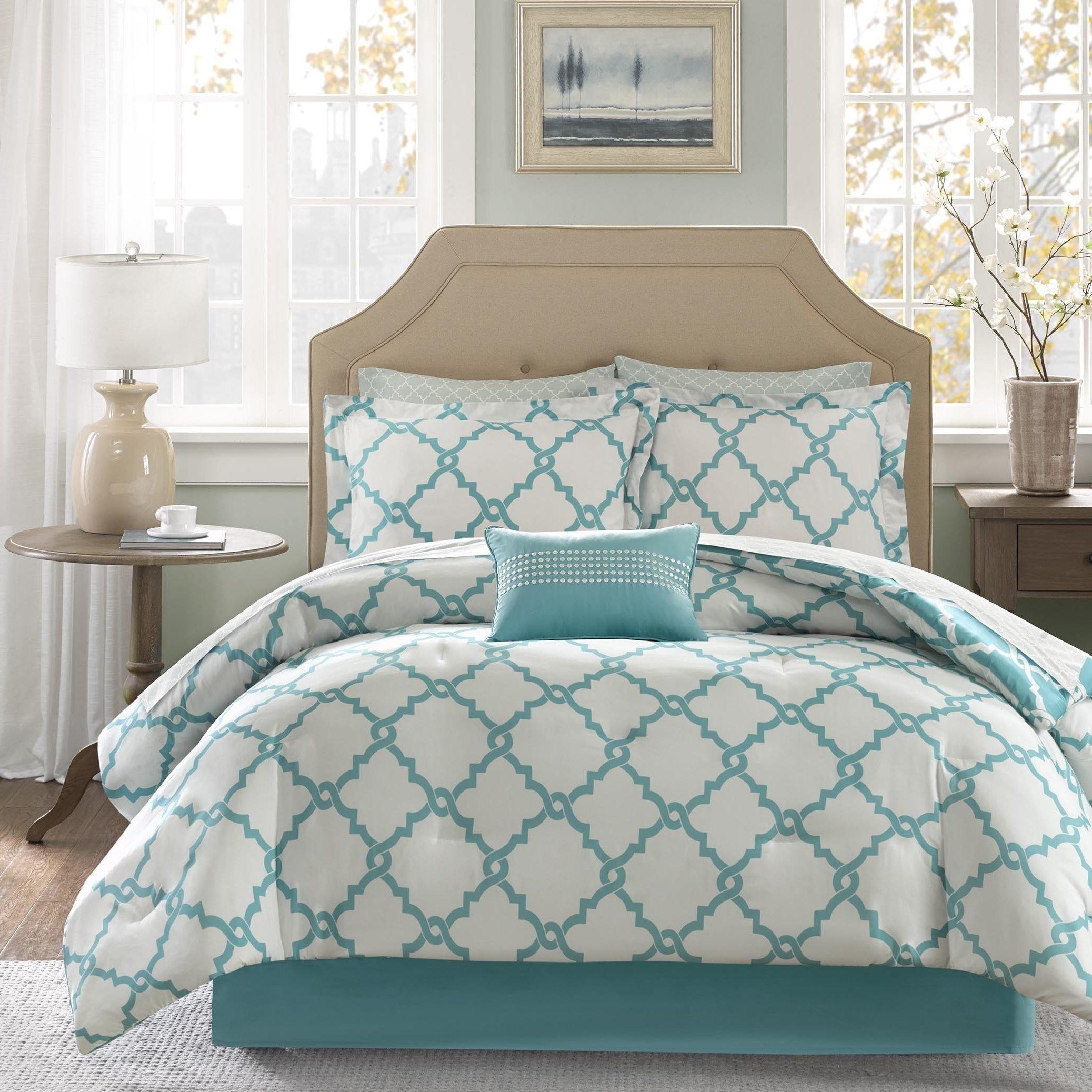 9 Piece Girls Aqua Blue Color Moroccan Comforter Set Full With Sheets, Beautiful Quatrefoil Fretwork Lattice Geometric Pattern Bold Light Blue Base Chic, Reversible White Teen, Microfiber