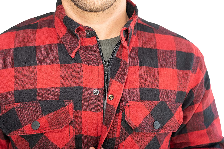 BRUBAKER Camisa de protecci/ón para Moto Forro Interior Aramida y Bolsillos para Protectores Estilo Lumberjack Cuadros Rojo-Negro