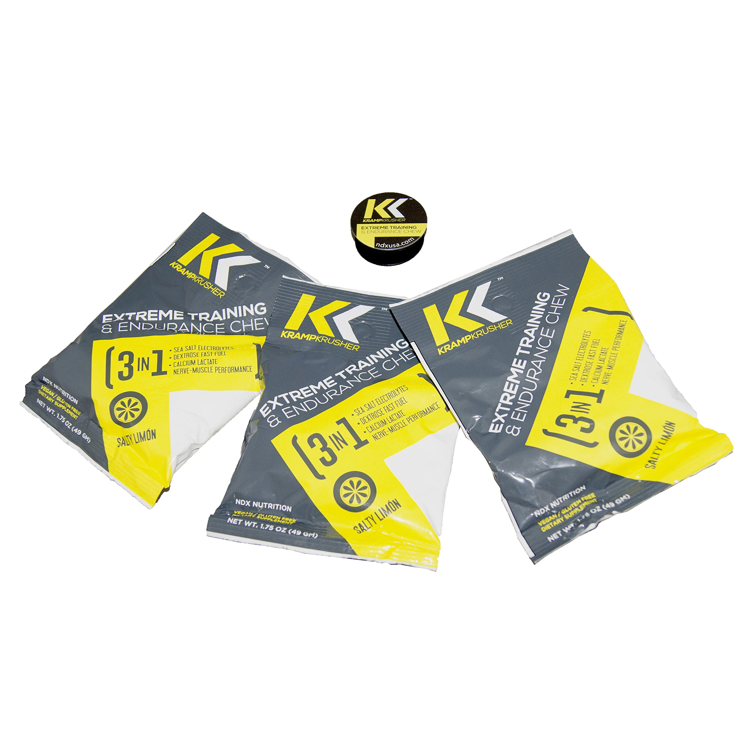 Pre Workout Kramp Krusher, Energy Gummies, (Pack of 12) Training and endurance enhancer, with Electrolytes, Calcium Lactate for optimal performance while training (Lemon, 3 pack)