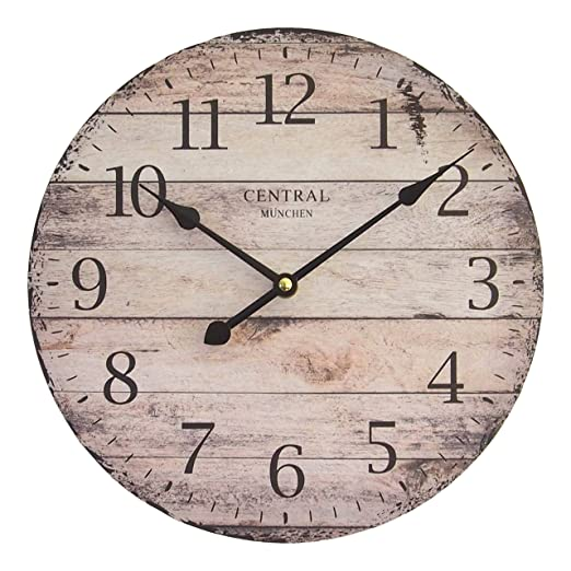 Perla PD Design, Orologio da parete, orologio da cucina, vintage design ca.  Ø 28 cm Diametro 28 cm, Legno, Monaco