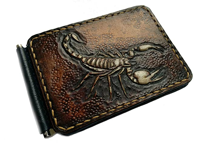 f06f9144812e Amazon.com: Men's 3D Genuine Leather Wallet, Money clip, Hand-Carved ...