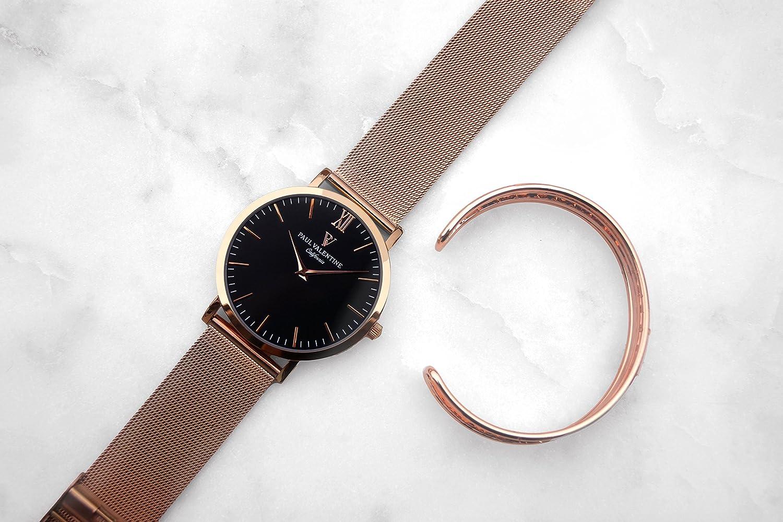 Paul Valentine Reloj de pulsera, con malla, color oro rosa: Amazon.es: Relojes