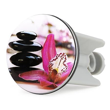 Pieza de lavabo Zen Orchid Dise/ño Grinscard 7 x 4 cm Fregadero de motivos florales Tap/ón de drenaje como regalo