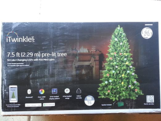 Amazon Com Itwinkle Pre Lit 7 5 Led Artificial Christmas Tree Clear Lights Home Kitchen