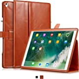 "KAVAJ iPad Pro 12.9"" Case Leather Cover ""London"" for Apple iPad Pro 12,9"" (2017) Cognac-Brown Genuine Cowhide Leather with Pencil Holder Built-in Stand Auto Wake/Sleep Function. Slim Fit Smart Folio iPad 12 9"