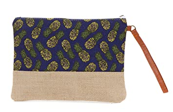 7104d241163b Amazon.com : Cotton Canvas Two-Tone Cosmetic Bag Make Up Clutch Bag ...