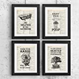 Amazon Price History for:Bathroom Quotes and Sayings Vintage Book Art Prints   Set of Four Photos 8x10 Unframed   Great Gift for Bathroom Decor
