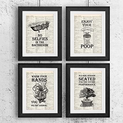 bathroom quotes and sayings vintage book art prints set of four photos 8x10 unframed - Bathroom Quotes