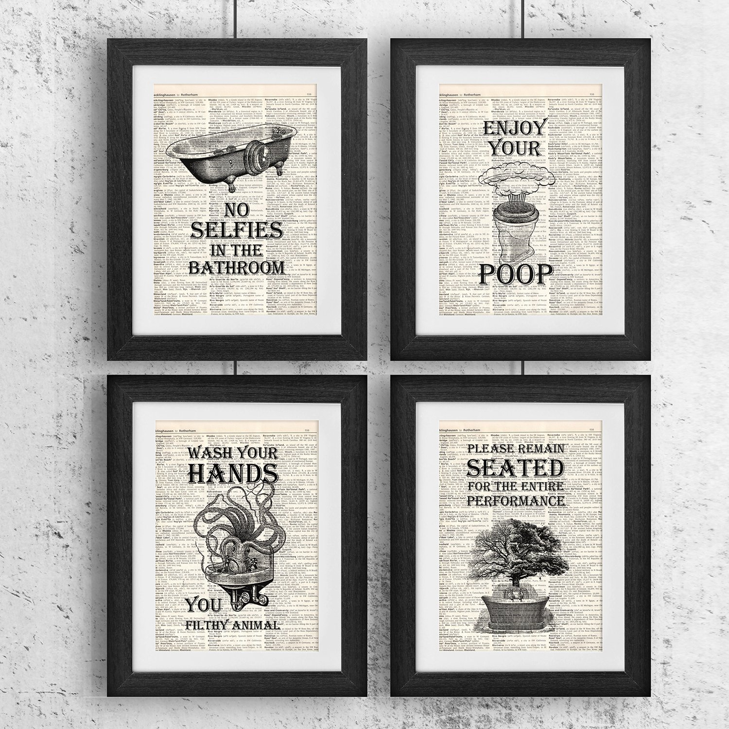Bathroom Wall Art Bath Decor Vintage Prints 4 Photo