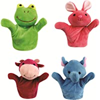 Chocozone Skylofts 20 cm Multicolour Rabbit, Frog, Cow, Monkey Animal Hand Puppets for Boys and Girls (Pack of 4)