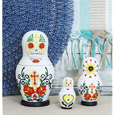 "Ebros 3 Piece Set Day of The Dead Sugar Skulls Spirit Skeletons Nesting Dolls Matroyshka Babushka Figurines 6"" Tall Ossuary Macabre Halloween Accent (White): Kitchen & Dining"