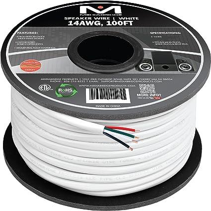 Mediabridge 14AWG 4-Conductor Speaker Wire (100 Feet, White) - 99.9% on audio amp wiring, car audio capacitor wiring, point to point wiring, speaker wiring, tube speakers, usb wiring, tube radio, car stereo wiring,