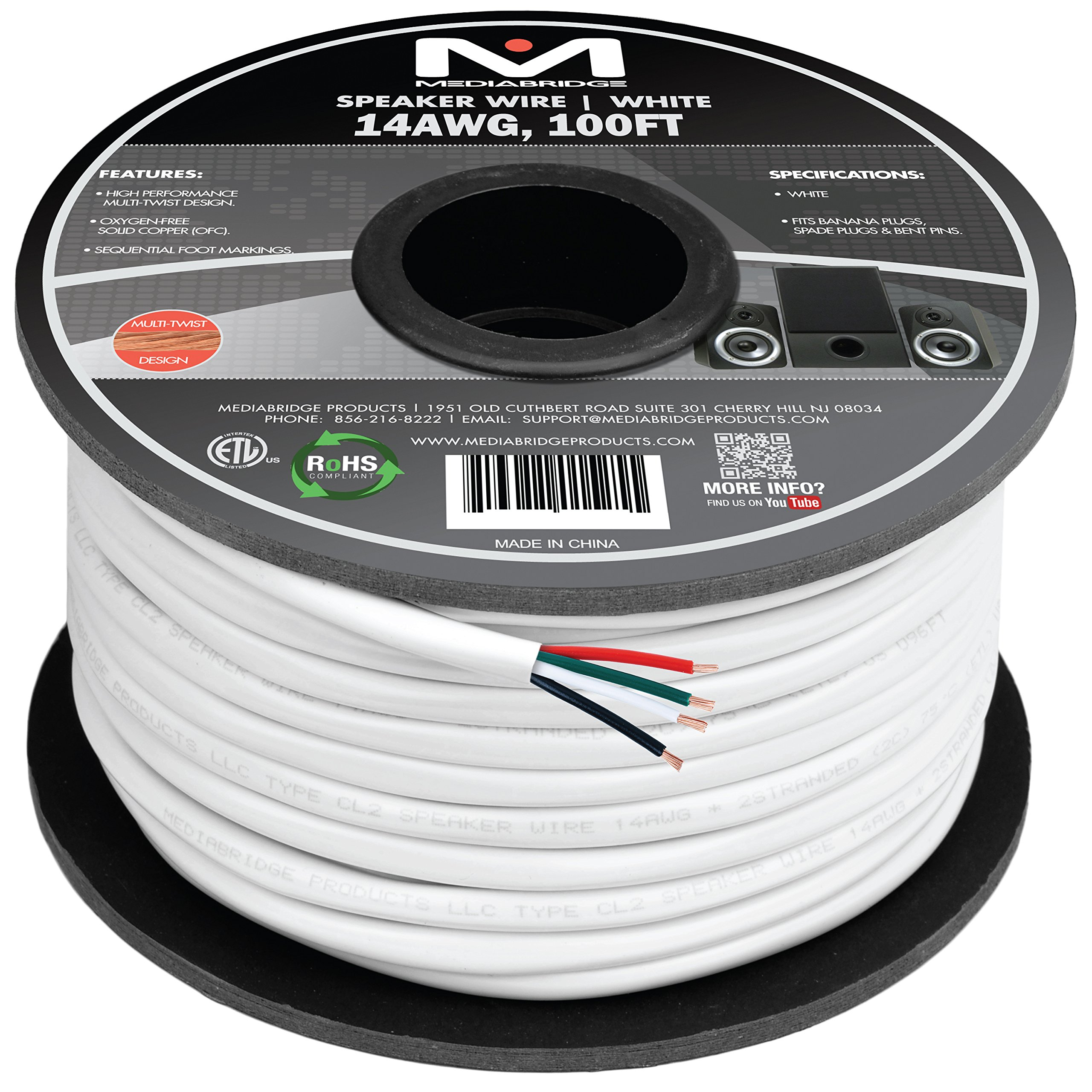 Mediabridge 14AWG 4-Conductor Speaker Wire (100 Feet, White) - 99.9% Oxygen Free Copper - ETL Listed & CL2 Rated for in-Wall Use (Part# SW-14X4-100-WH) by Mediabridge