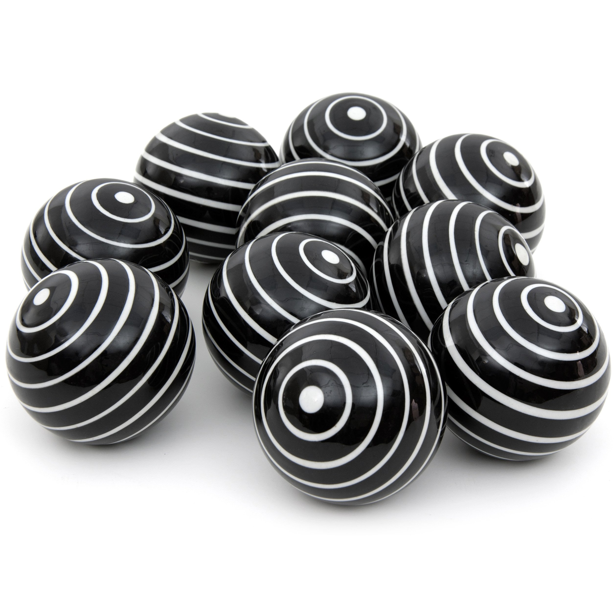 Oriental Furniture 3'' White Stripes Porcelain Ball Set by ORIENTAL Furniture