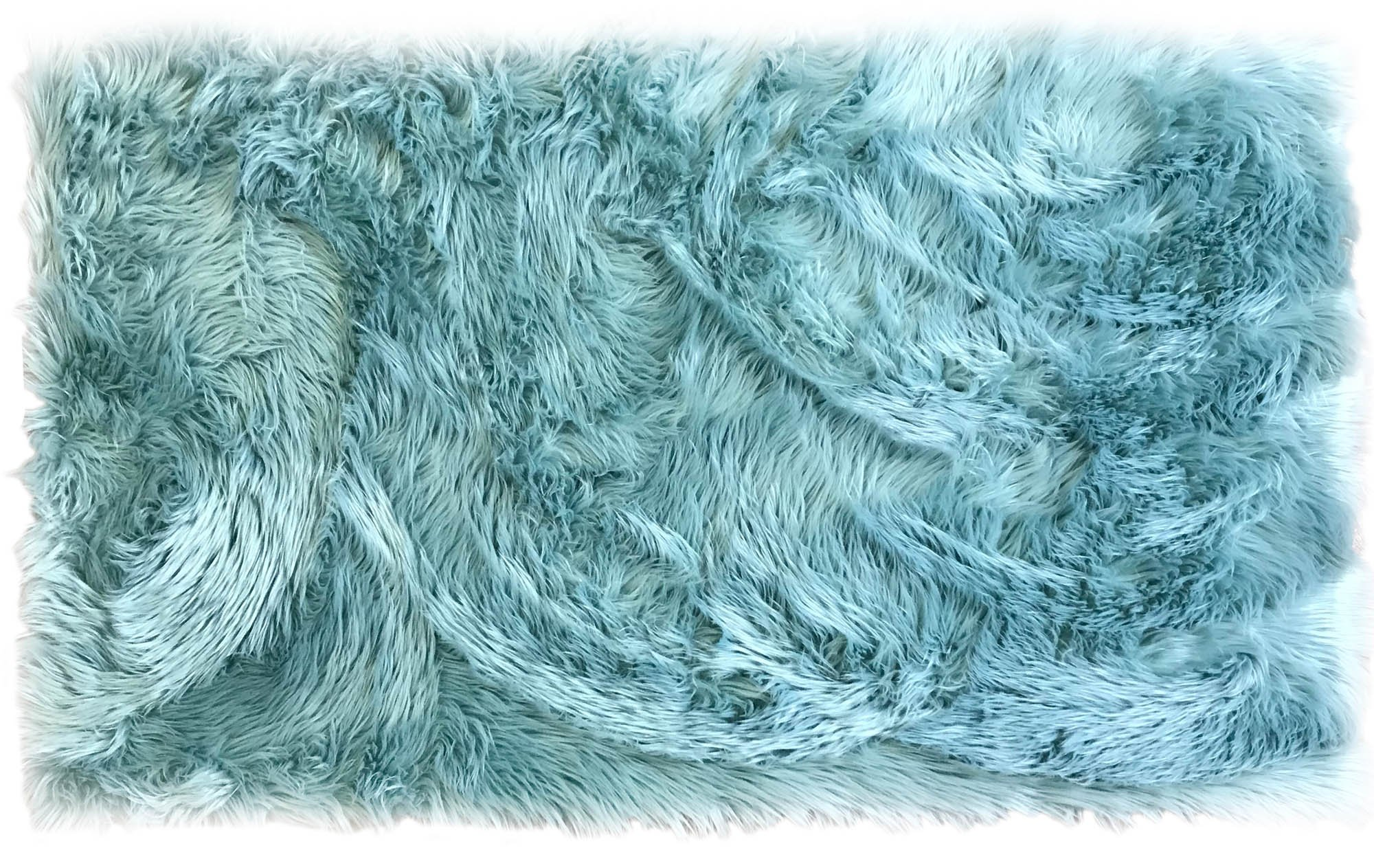 Serene Super Soft Faux Sheepskin Shag Silky Rug Baby Nursery Childrens Room Rug Teal, 2' x 3'