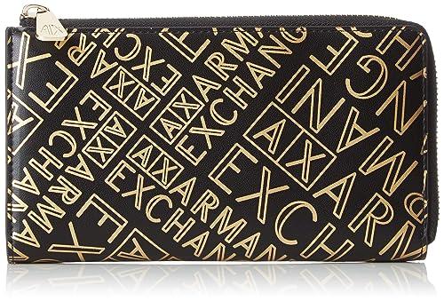 Armani Exchange - Round Zip Wallet, Carteras Mujer, Dorado (Black/Gold)