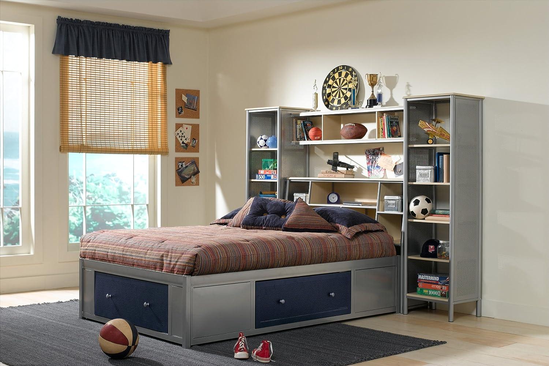 Amazoncom Universal Storage Platform Bed w Bookcase Headboard