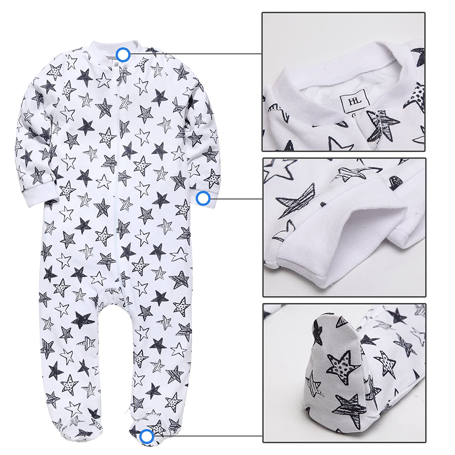 HONGLIN Babys 2-Pack Footed Pajamas Boys Girls Footies Sleepers Long Sleeve Rompers 100/% Cotton