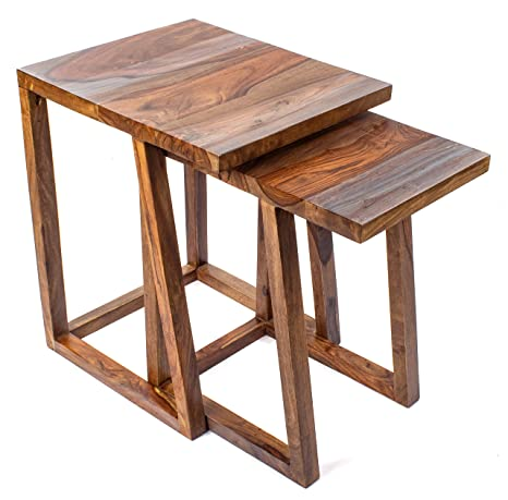 Amazon.com: Juego de dos mesas de mesa de decoración para el ...
