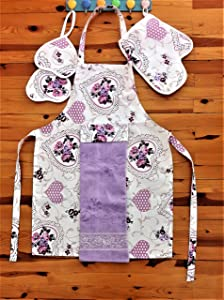 Kitchen Apron for Women/Men-Kitchen Cooking Apron Set- Oven Mitt, Pot Holder, 1 Kitchen Towel,Flower Design,Made of 65% Cotton and 35% Polyester (Lilac and White)