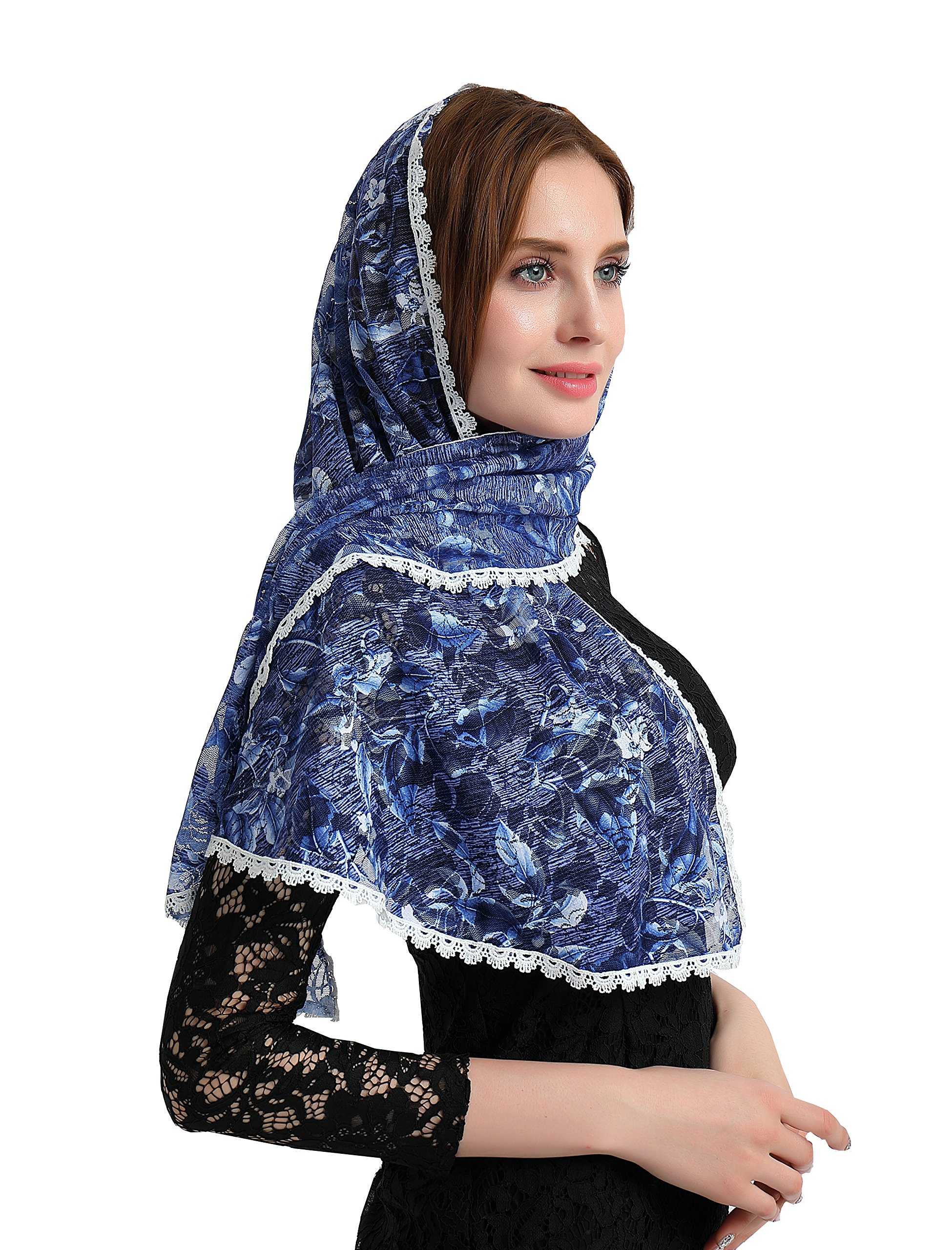 Chapel Catholic Veil lace mantilla for church headwrap V33 (Navy)