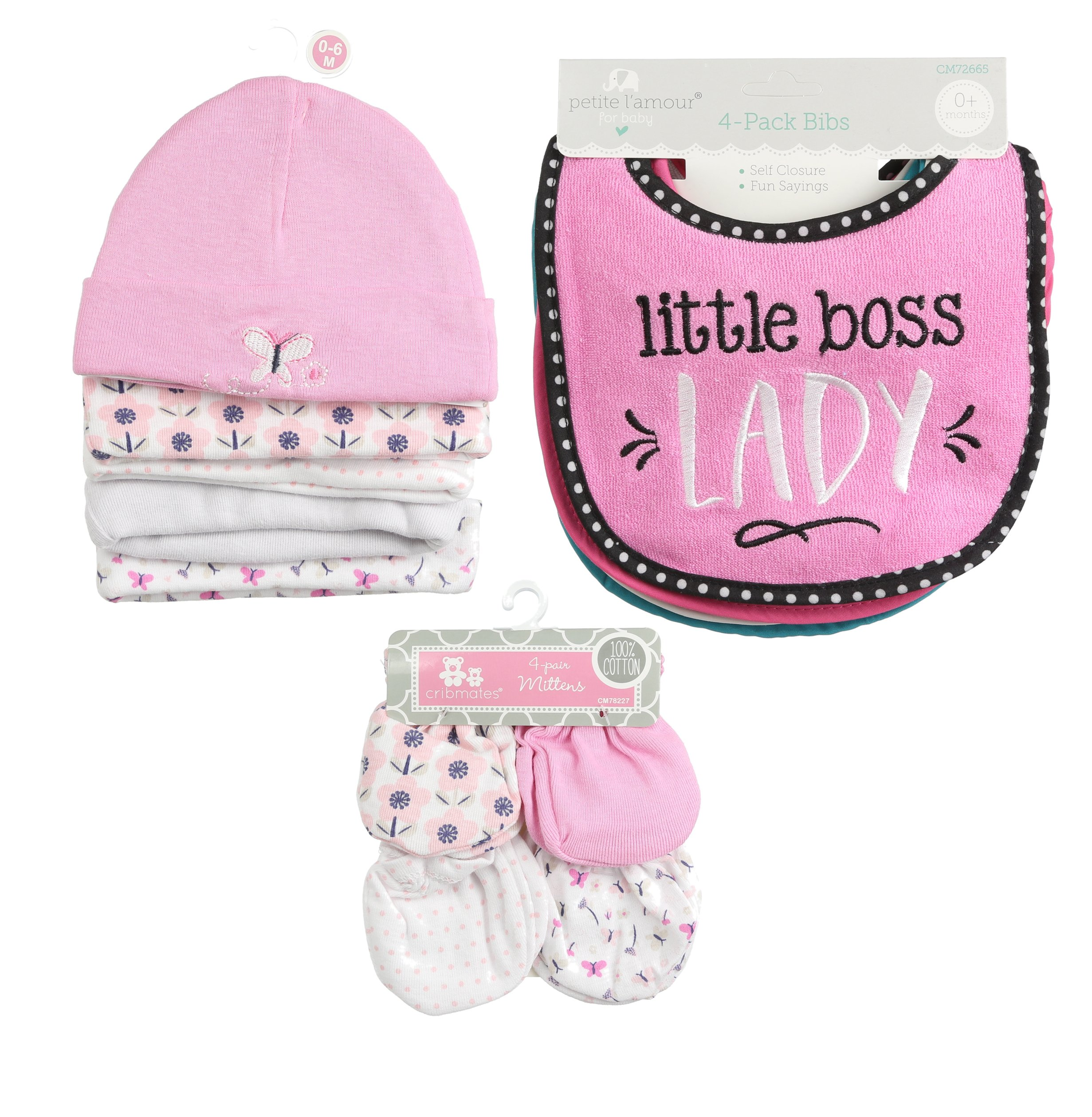 ''Infant Caps Pink 5-pk, 4 Piece Girl Bib, and 4 Pairs Unisex-Baby No Scratch Mittens, 100% Cotton, Bundle for Infants and Toddlers ''