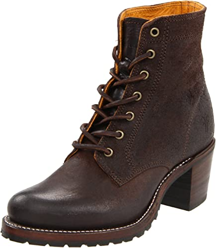 FRYE Women's Sabrina 6G Lace-Up Boot, Dark Brown, ...