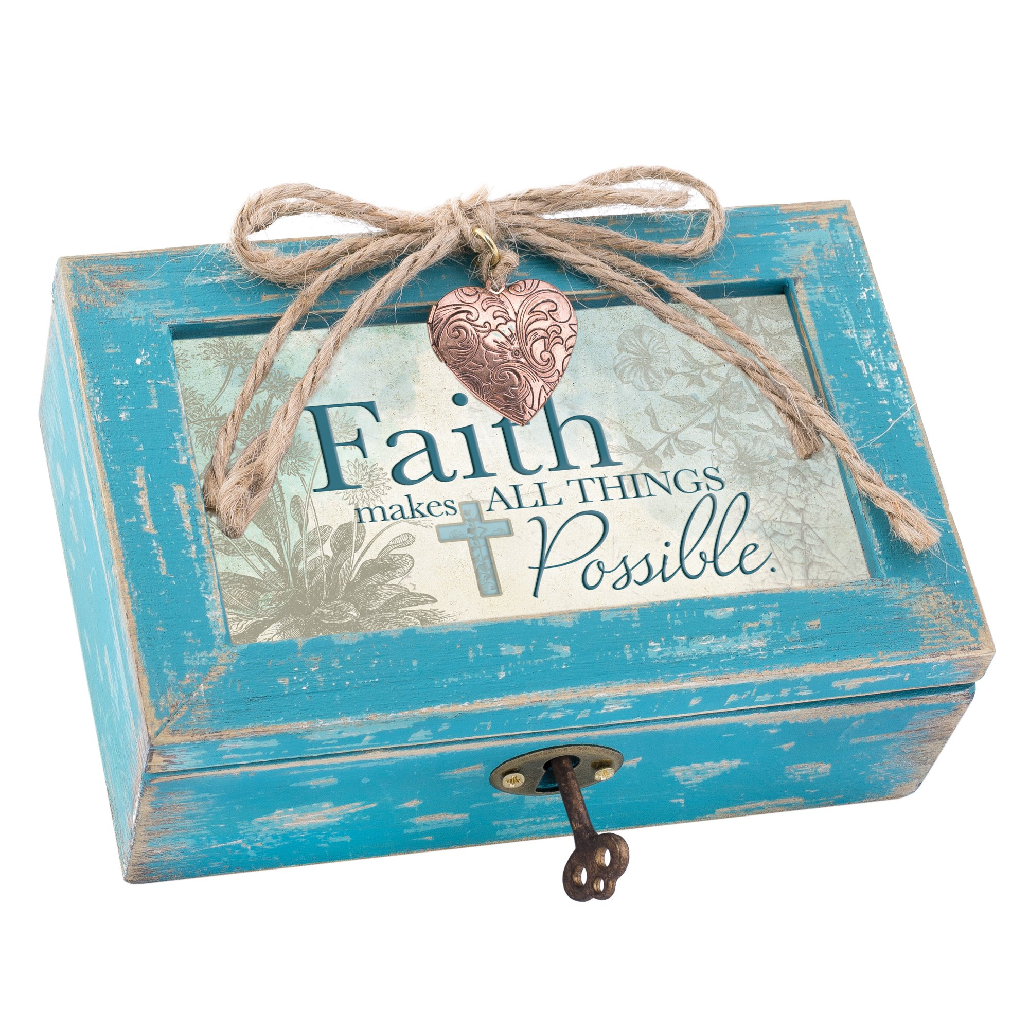 Cottage Garden Faith Makes All Things Possible Teal Wood Locket Jewelry Music Box Plays Tune Amazing Grace