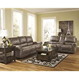 Oberson Contemporary Gunsmoke Faux-leather Reclining Sofa And Loveseat w/Console