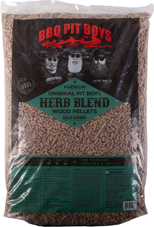 BBQ Pit Boys BPB-RTB-768 Mezcla de Hierbas Premium Barbacoa pellets de Madera sin rellenos-20 LB Bolsa, Natural