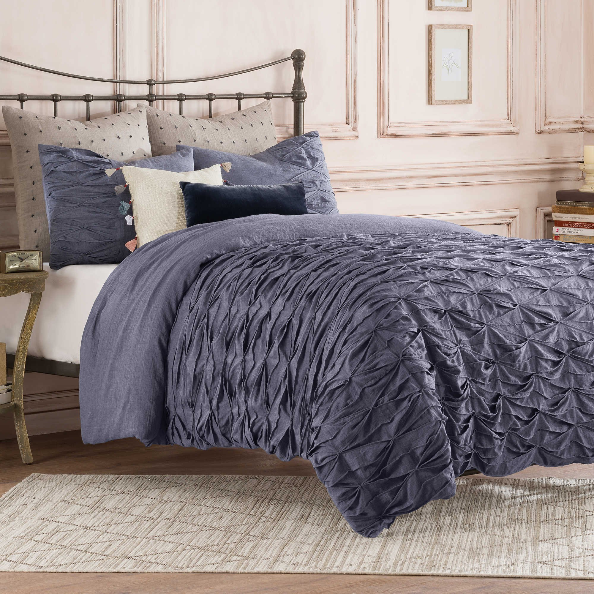 Anthology Full Queen Size Duvet Cover from the Kendall Bedding Collection in an Indigo Color