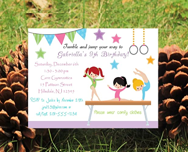 Amazon Set Of 10 Girls Birthday Party Invitations Gymnastics