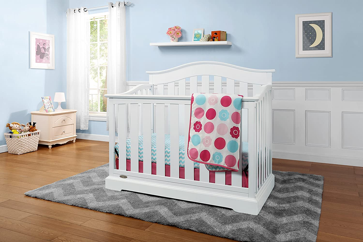 Graco Westbrook 4-in-1 Convertible Crib, White, Easily Converts to Toddler Bed Day Bed or Full Bed, Three Position Adjustable Height Mattress Mattress Not Included