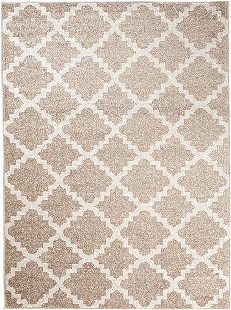 Grande Tapis De Salon - Beige Blanc - Motif Géométrique Treillis Marocain -  Design Moderne & Traditionnel - Parfait Pour La Chambre - Plusieurs ...